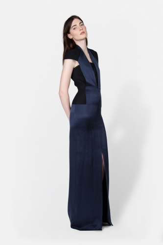 Cut-out silk gown